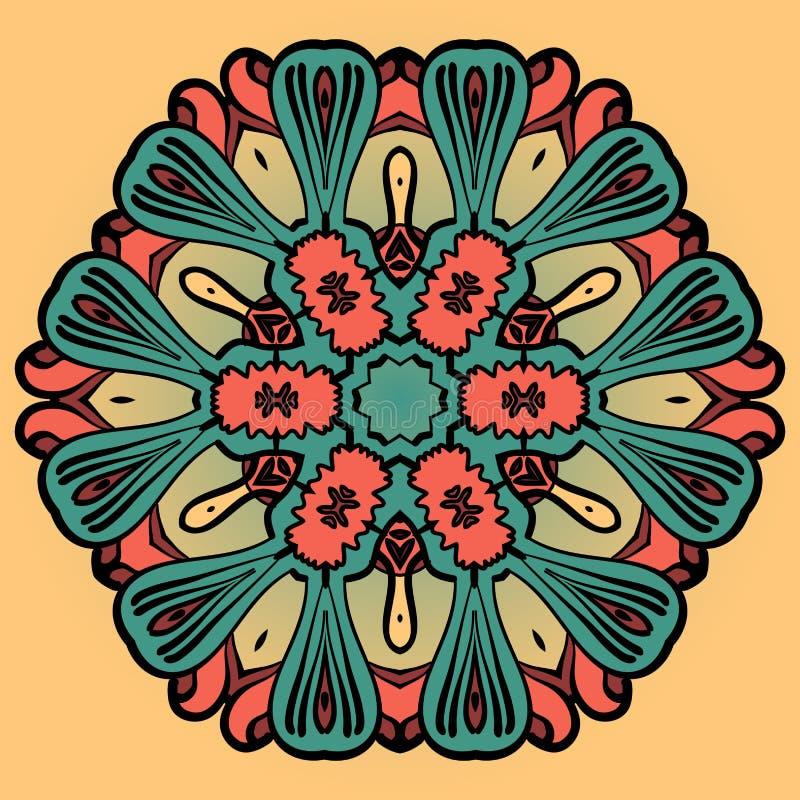 Mandala kwiatu projekt nad koloru żółtego wzorem Ornamentu round indyjska koronka ilustracji