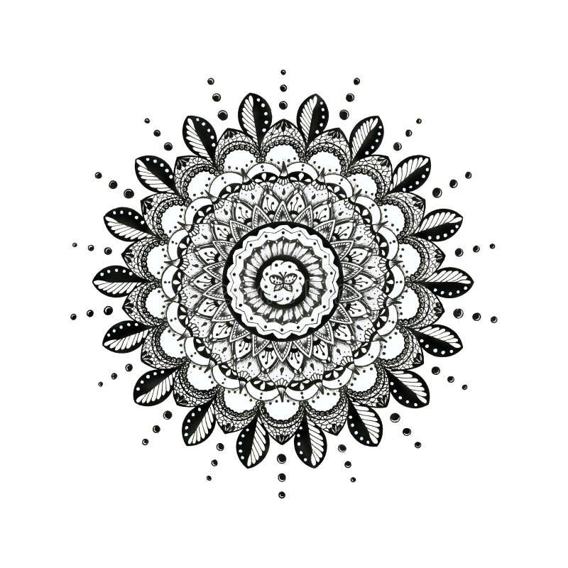 Mandala Line Art Hindu Symbol tradicional imagens de stock royalty free