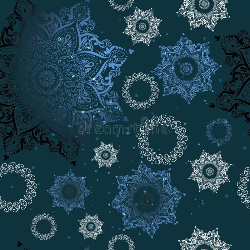Mandala lumineux et blanc, modèle rond, ornement de dentelle sur un fond bleu-foncé, modèle sans couture illustration stock