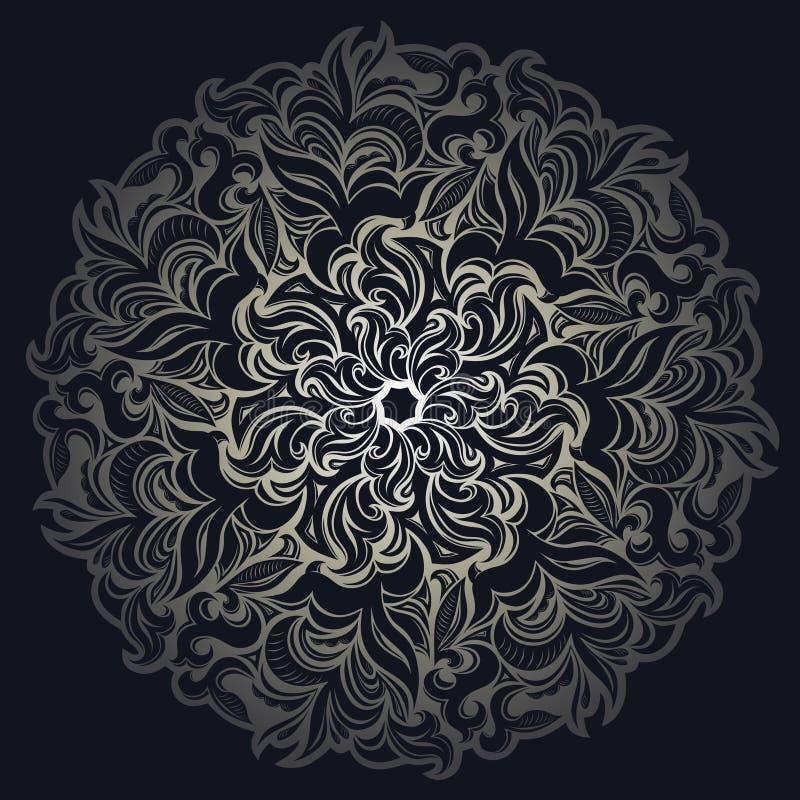 Mandala Lusso di sfondo, damask vintage ornamento con motivo floreale e deciduo illustrazione vettoriale