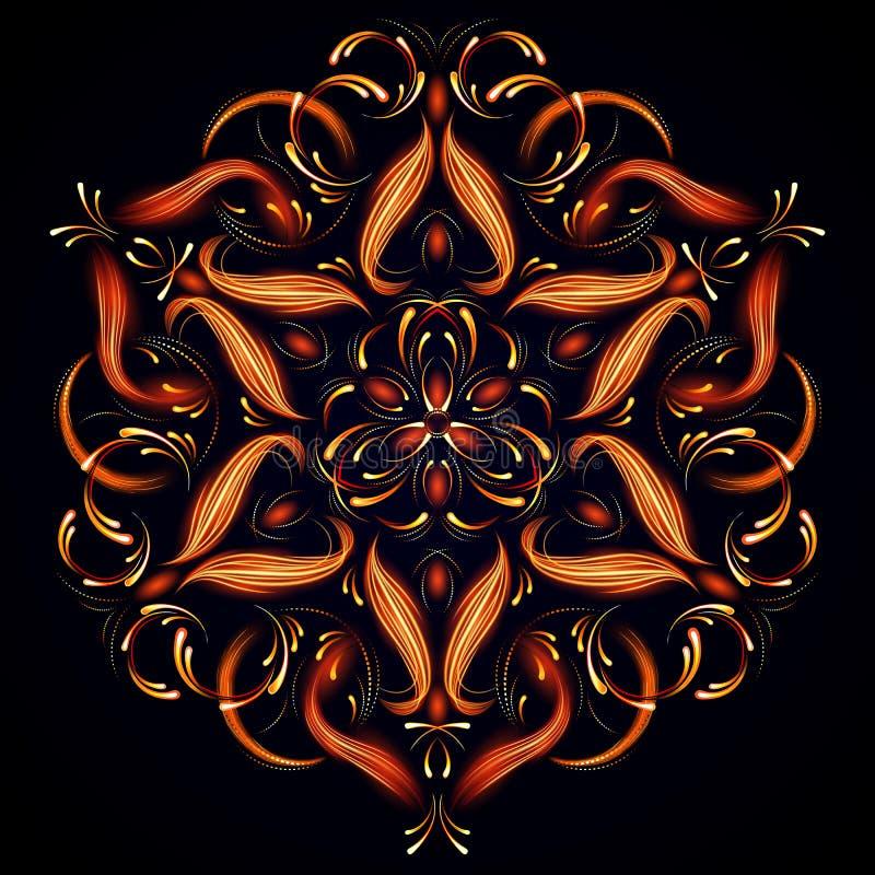 Mandala mágica abstrata Teste padrão misterioso do abrandamento Fundo abstrato do fractal com uma mandala feita de linhas luminos ilustração stock