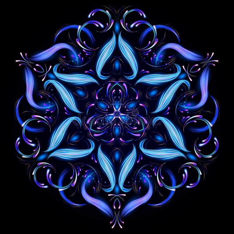 Mandala mágica bonita Fractal abstrato com uma mandala feita de linhas luminosas Teste padrão misterioso do abrandamento Molde da ilustração stock