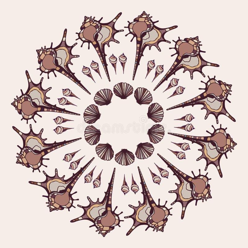 Download Mandala made of Seashells. stock illustration. Illustration of ocean - 39503604