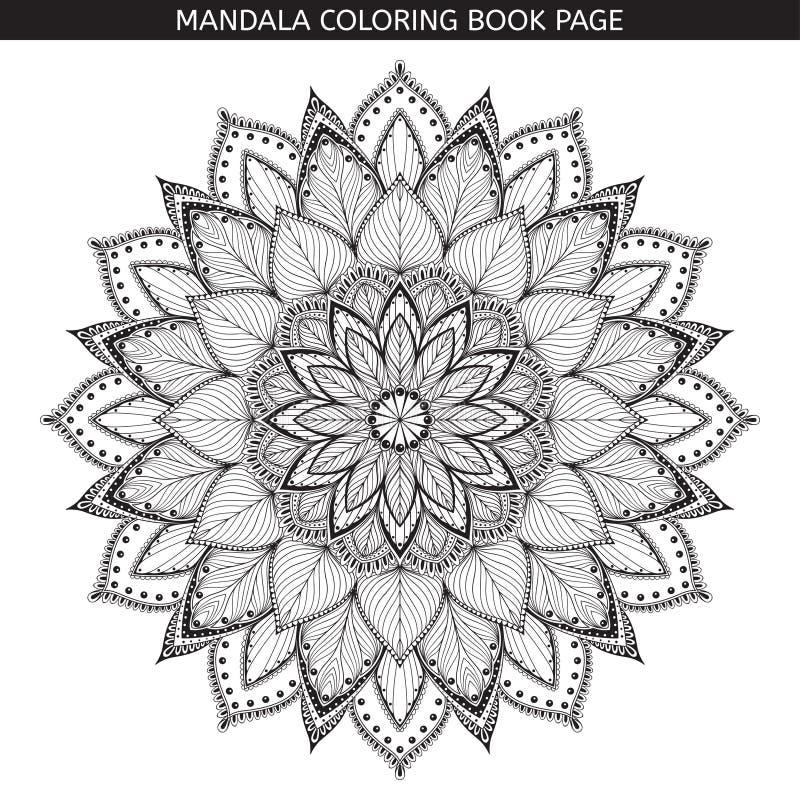 mandala Malbuchseiten Indisches antistress Medaillon Weißer Hintergrund, schwarzer Entwurf Auch im corel abgehobenen Betrag stock abbildung