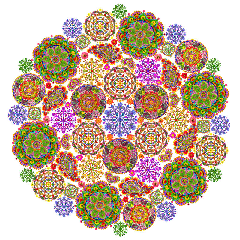 Mandala from mandalas. Mandala - spiritual and ritual symbol in Buddhism, made from small floral mandalass. Isolated abstract collage. All full size images you vector illustration