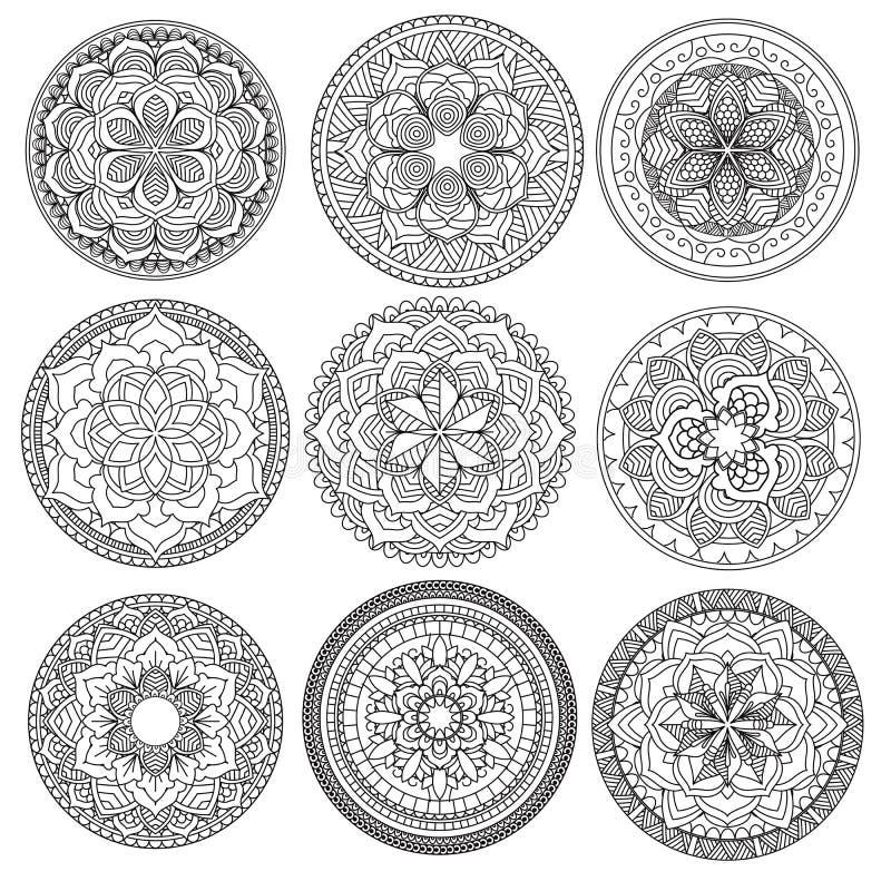 mandala Mandale floreali messe Libro di coloritura profilo Reticolo Elemento di progettazione del tessuto illustrazione di stock