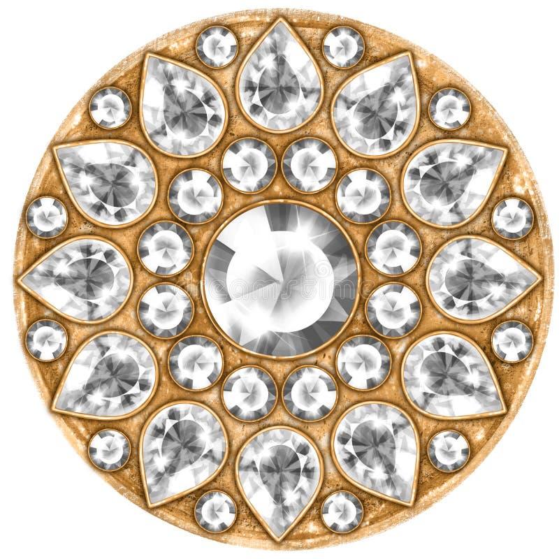 Mandala med ädelstenar mönstrad runt royaltyfri illustrationer