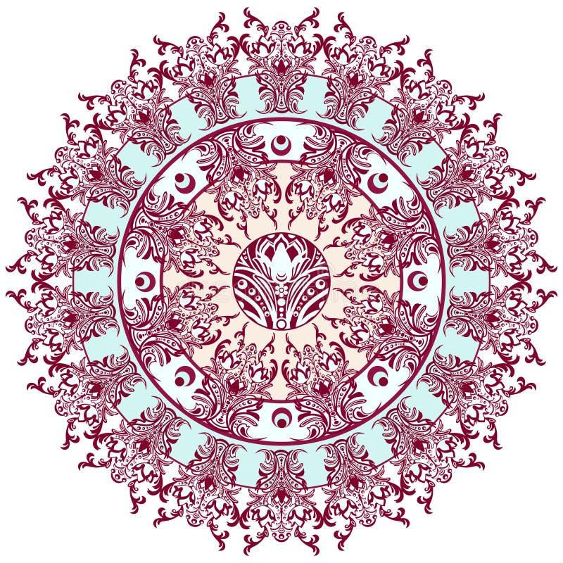 Mandala med den damast blom- modellen, arabesque, rund orientalisk prydnad, etnisk design Abstrakt traditionell fint vävd dekor f royaltyfri illustrationer
