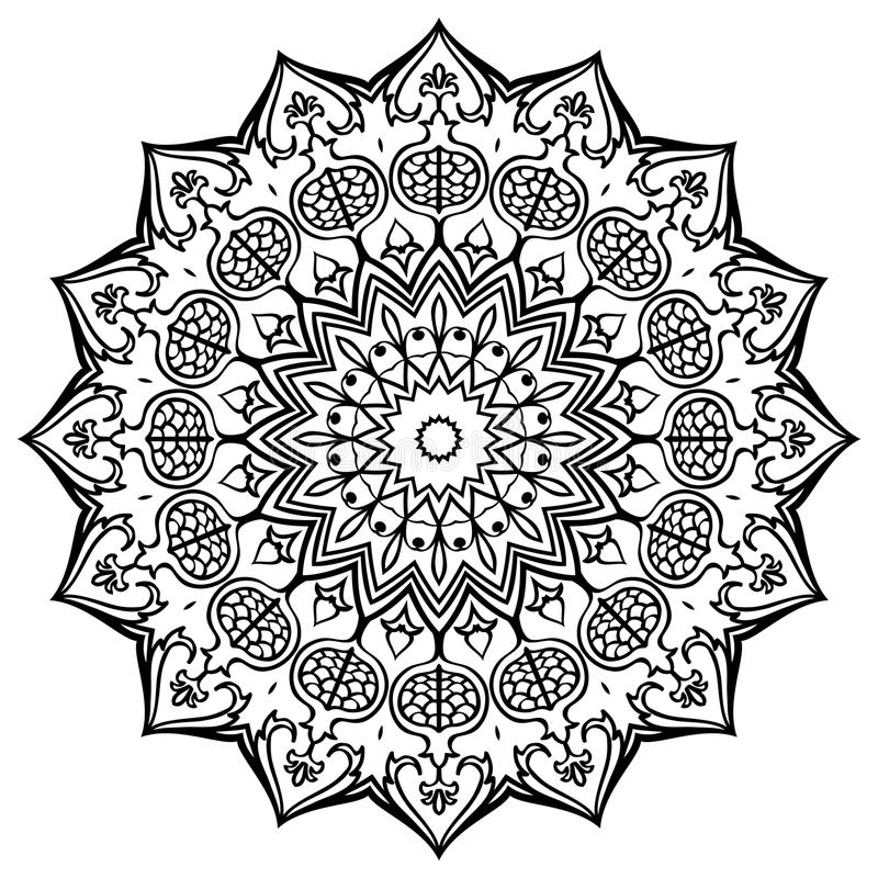 Download Mandala med granatäpplen vektor illustrationer. Illustration av matta - 78727637