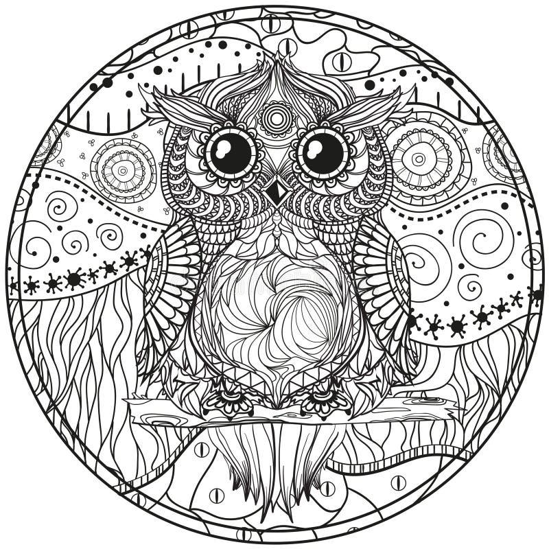Mandala med ugglan stock illustrationer