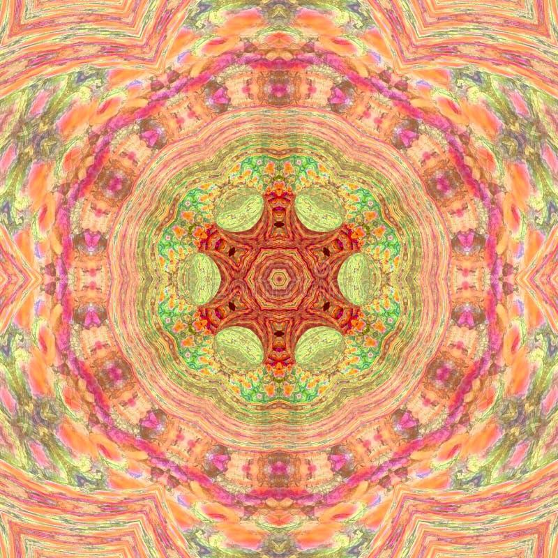 Mandala Meditative Asian stilarabesque i rosa och orange bleka färger royaltyfria foton