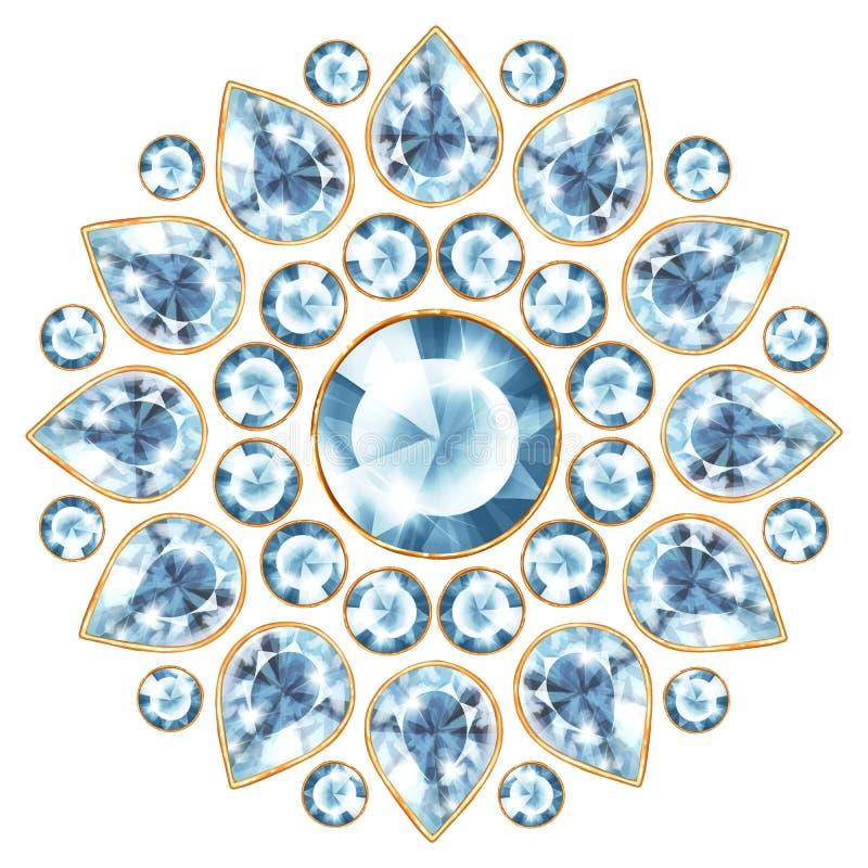 Mandala met blauwe gemmen vector illustratie