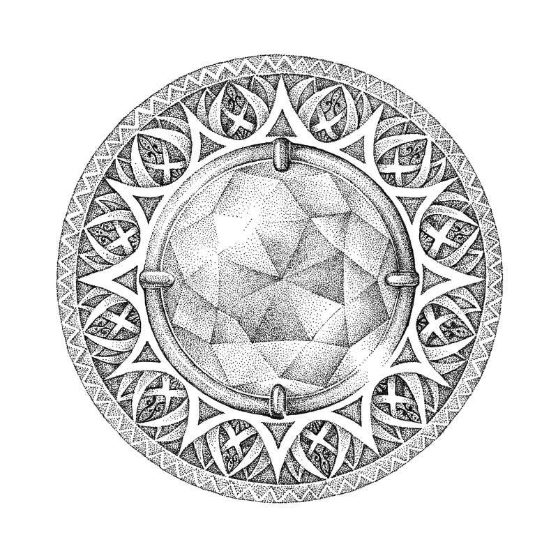 Mandala met briljante, een diamant whith patronen, ornamenten royalty-vrije illustratie