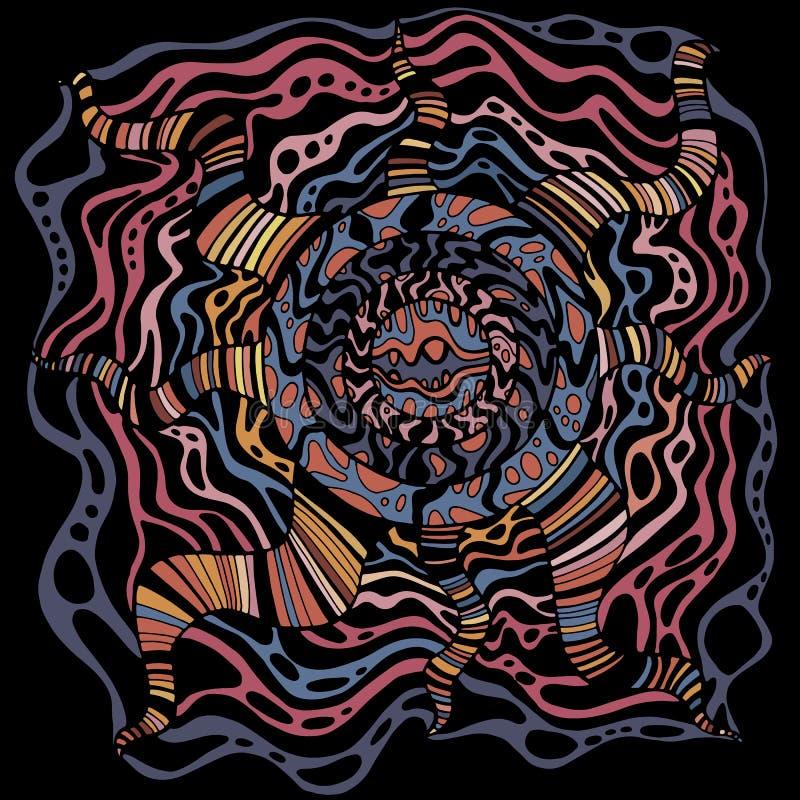 Mandala met de achtergrond van het cirkelpatroon De stijl van de krabbel Psychedelisch surreal grafisch kunstwerk Vectorhandteken royalty-vrije illustratie