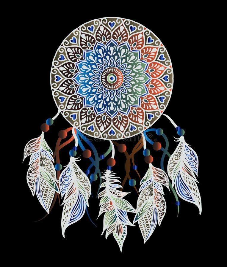 Mandala met dreamcatcher royalty-vrije illustratie