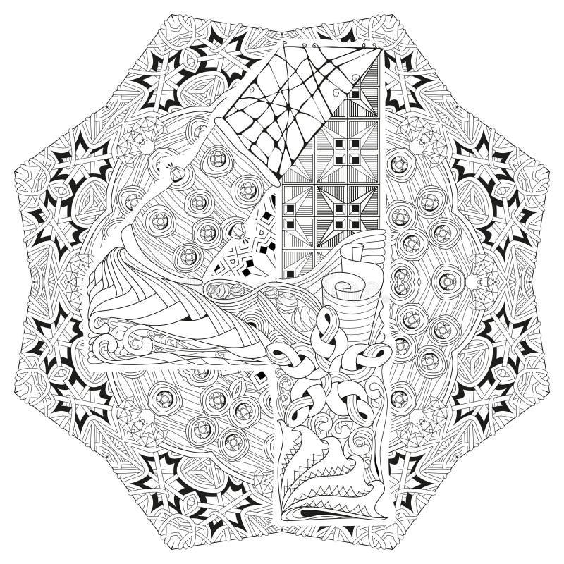 Mandala met numero vier voor het kleuren Vector decoratieve zentangle royalty-vrije illustratie