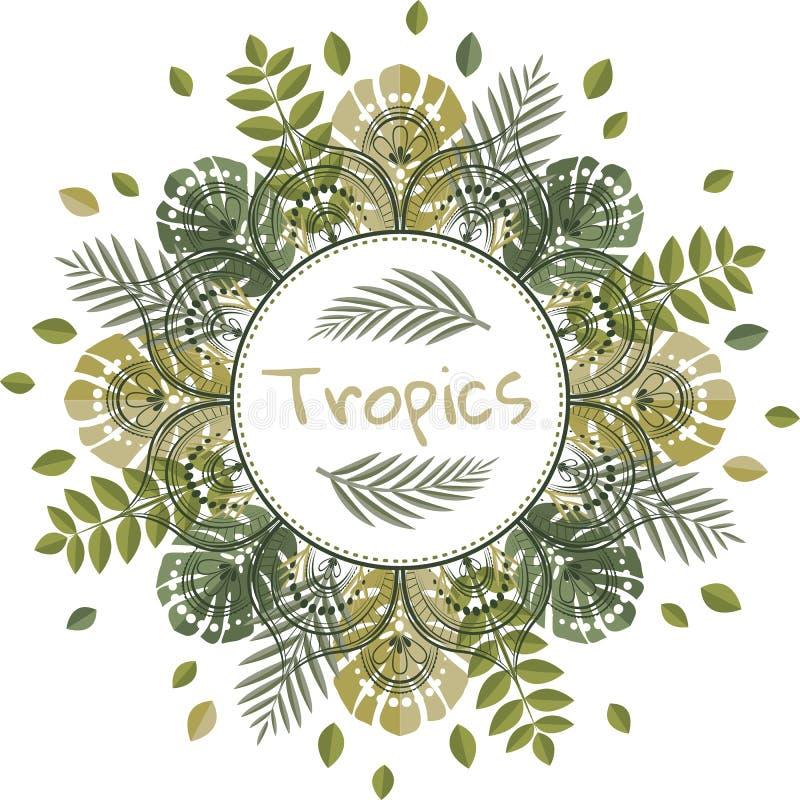 Mandala met tropische bladeren royalty-vrije illustratie