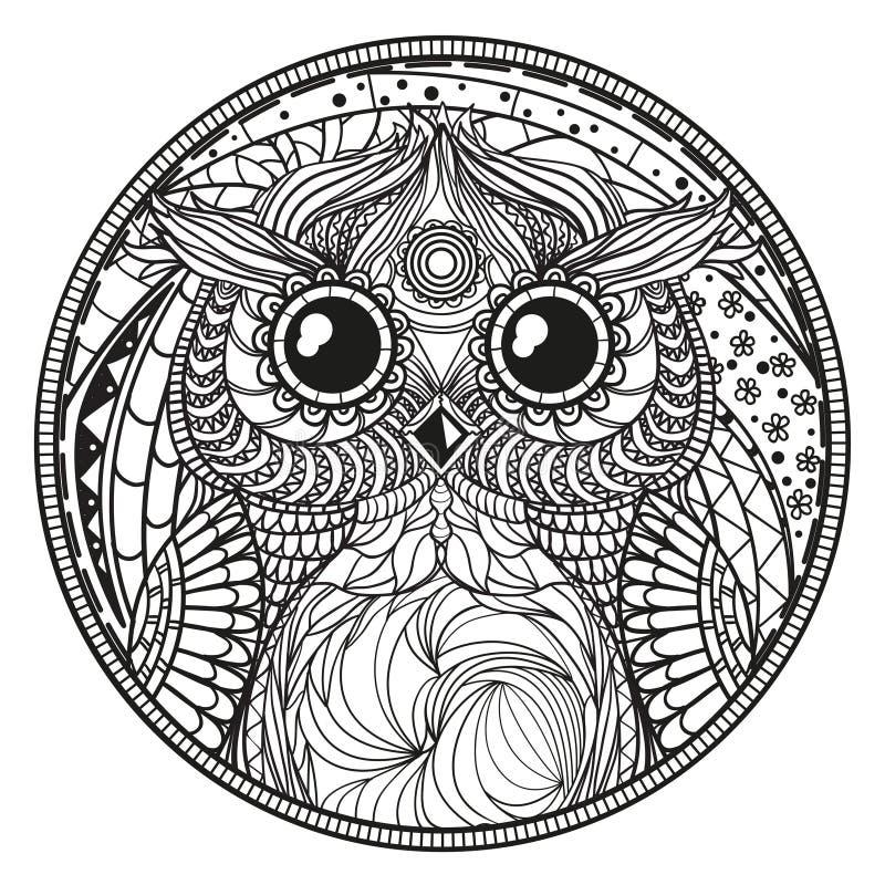 mandala met uil zentangle vector illustratie illustratie