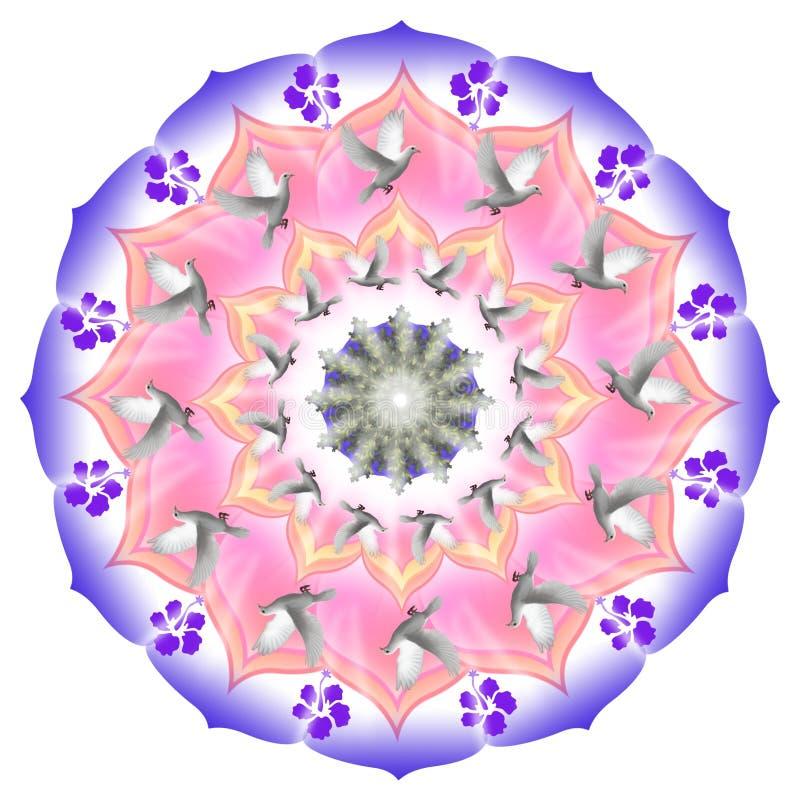 Mandala met vliegende duiven royalty-vrije illustratie