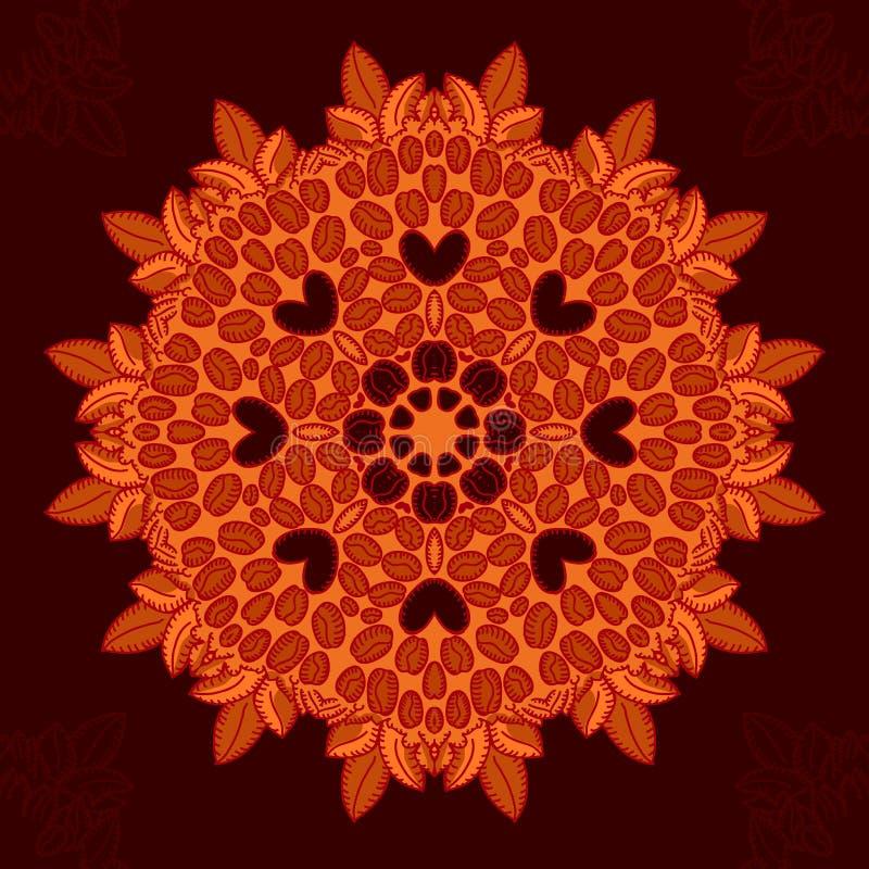 Mandala mit liebevollen Kaffeebohnen lizenzfreie abbildung