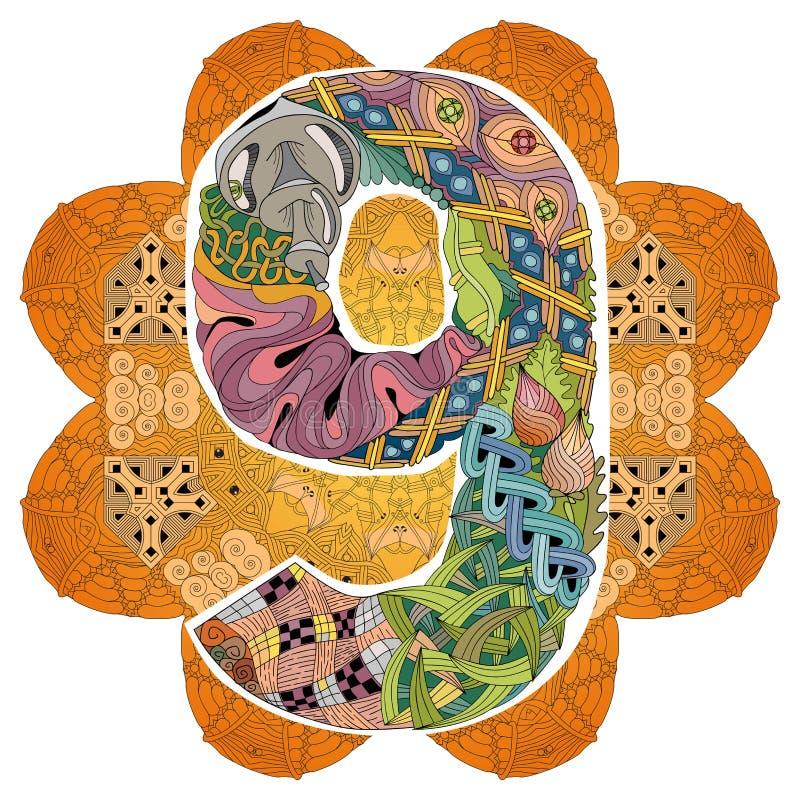Mandala mit numero neun Vektor dekoratives zentangle vektor abbildung