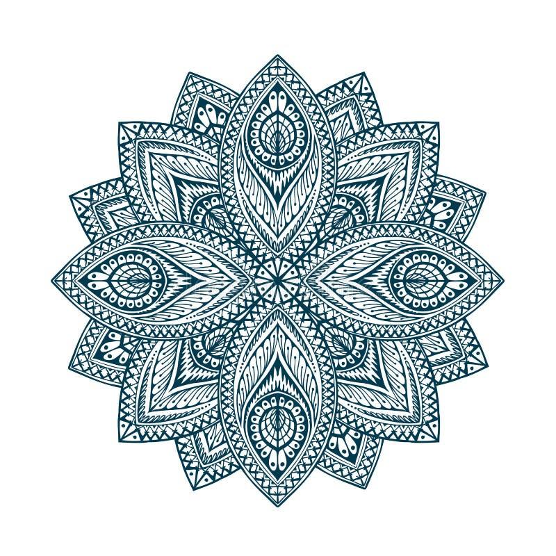 mandala Modèle ethnique floral décoratif Ligne orientale vecteur de belle forme de fleur illustration de vecteur