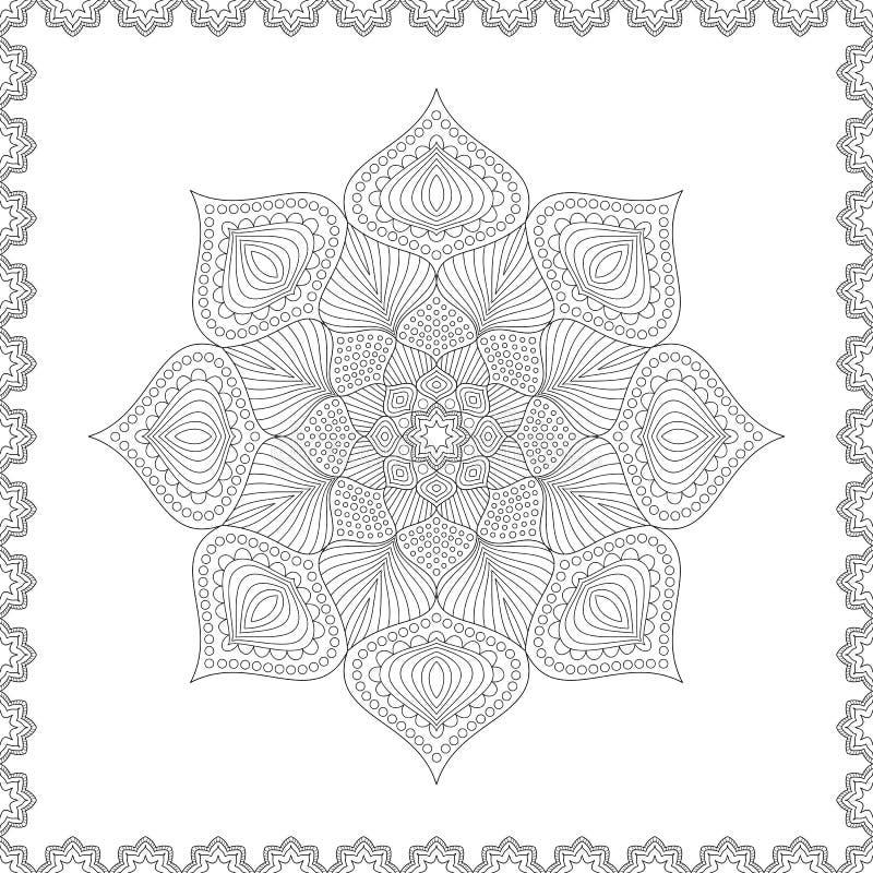 Mandala Modelada Incolora Del Esquema Diseño De Página Para Colorear ...