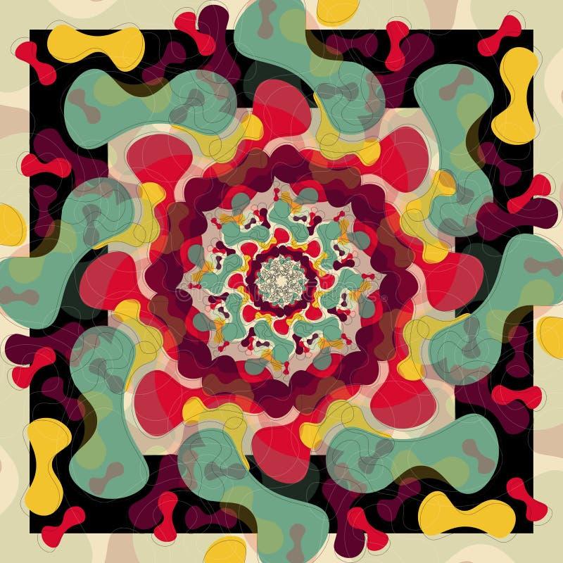 Mandala moderne avec des couleurs de cru illustration stock