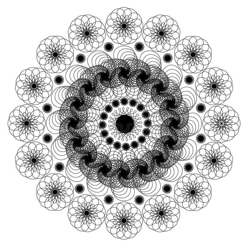 Mandala monocromática bonita do contorno de Deco do vetor ilustração stock