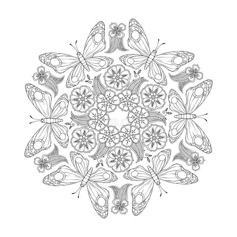 Mandala monocromática de Mendie con las mariposas y las flores Zenart inspiró stock de ilustración