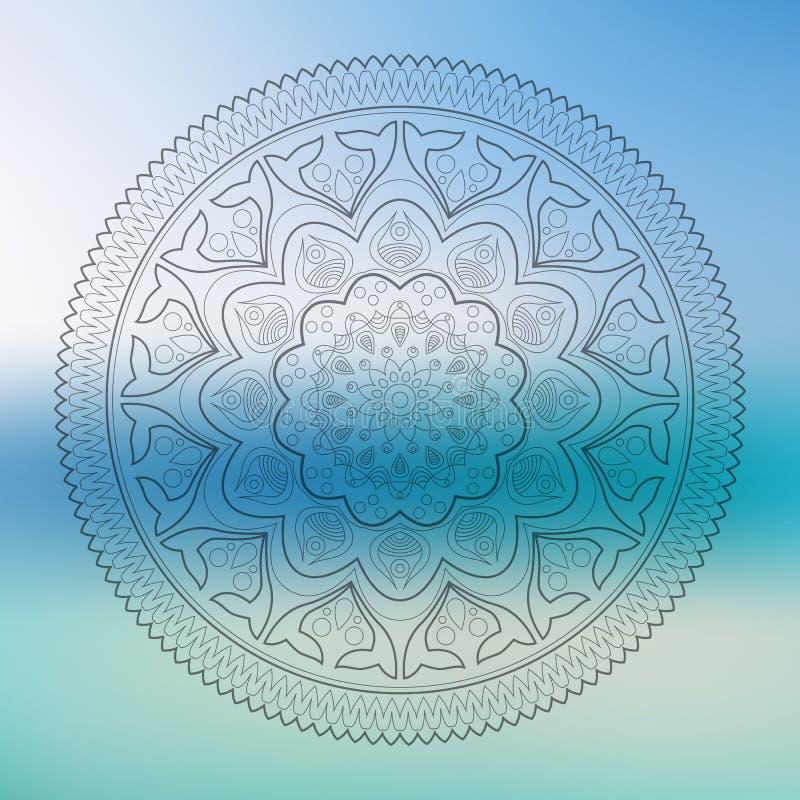 Mandala monocromática hermosa del contorno de Deco del vector, amuleto étnico ilustración del vector