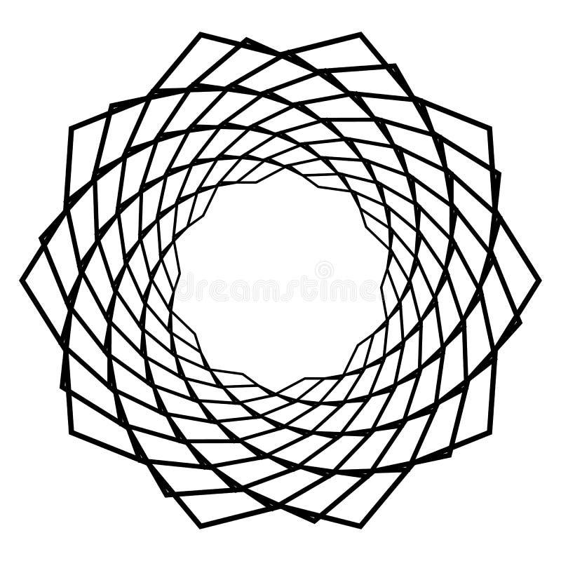 Mandala, motyw z falistym, zygzag wykłada wirować ilustracji