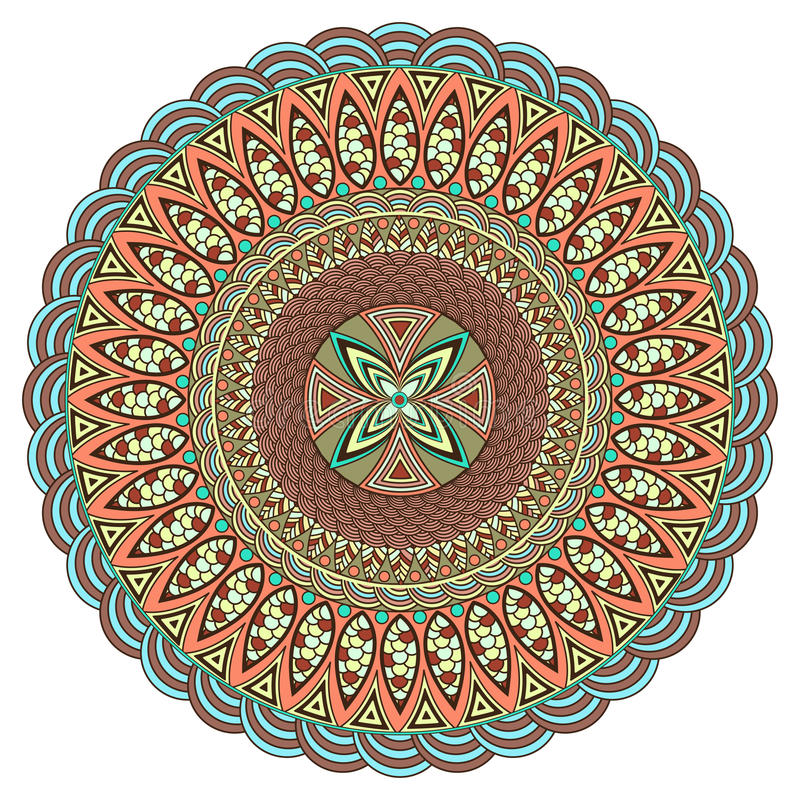 Mandala multicolor. Boho style, hippie jewelery. Round Ornament Pattern. Vintage decorative elements. Оriental pattern. Arabic, Indian. Can be used to stock illustration
