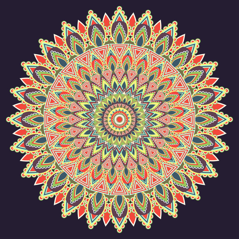 Mandala multicolored, indian ornament. East, ethnic design, oriental pattern, round . For use in fabric , print, tattoo. Mandala multicolored, indian ornament royalty free illustration