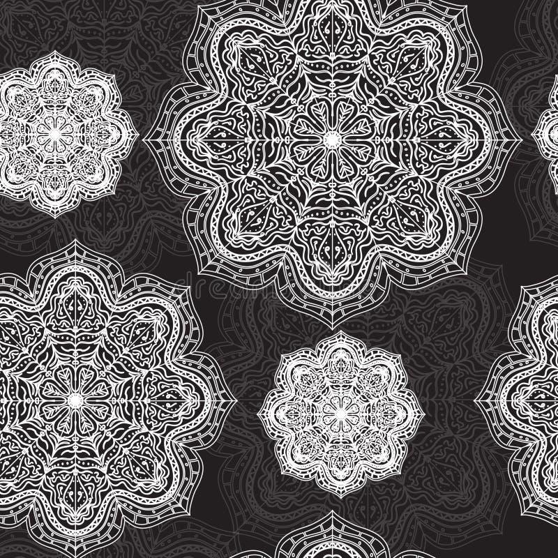 Mandala-nahtloses Muster stock abbildung