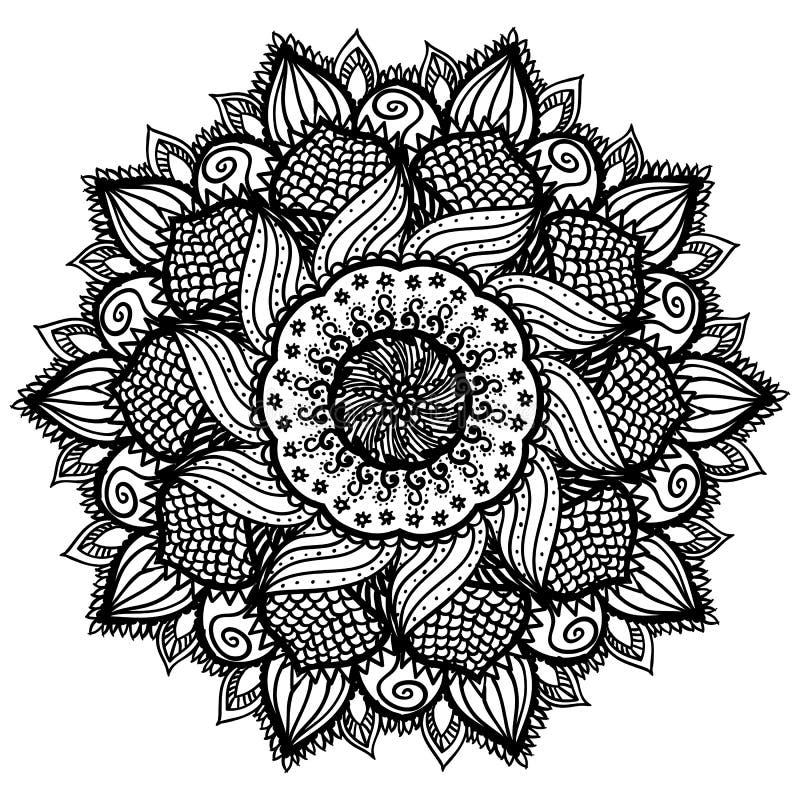 Mandala negra abstracta hermosa aislada en blanco libre illustration