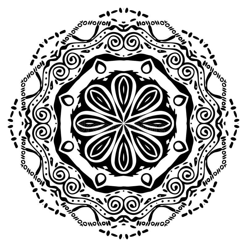 Mandala negra en el fondo blanco Ornamento del vector libre illustration