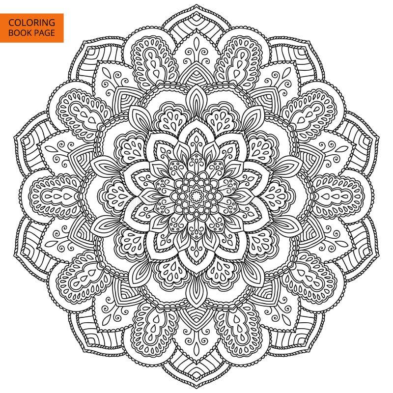 Mandala negra para el libro de colorear ilustraci n del - Azulejo 15x15 blanco ...