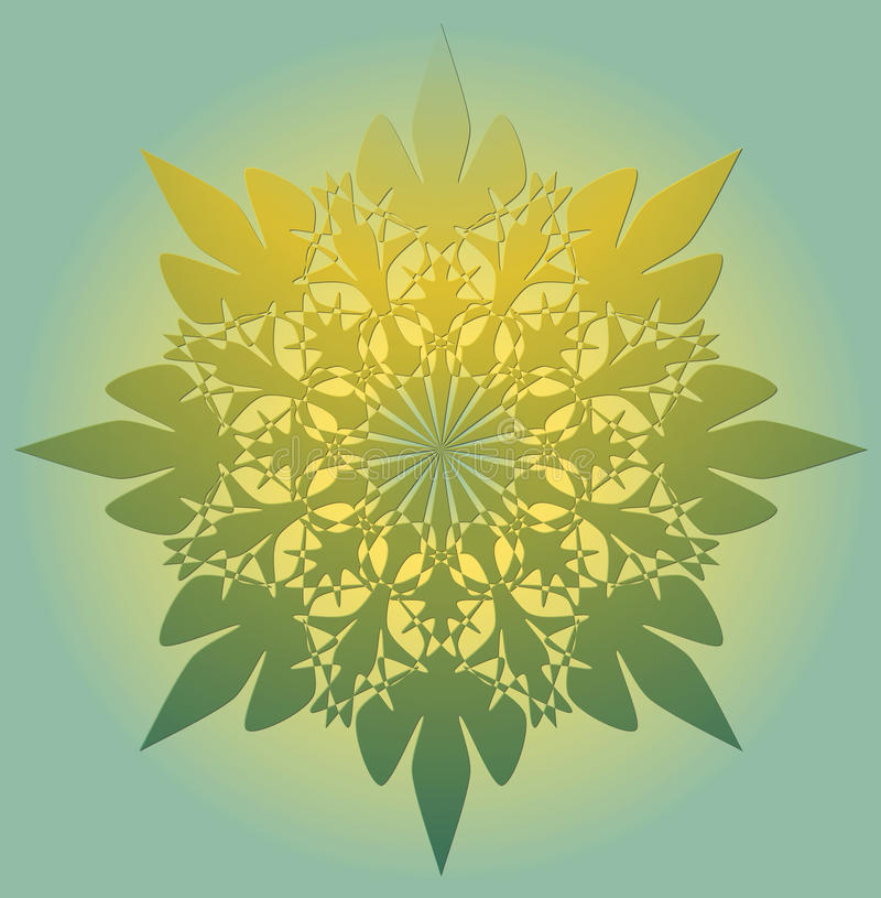 Mandala nel colore verde chiaro con luminoso giallo un simbolo del chiarimento spirituale Modelli geometrici simmetrici del pizzo royalty illustrazione gratis