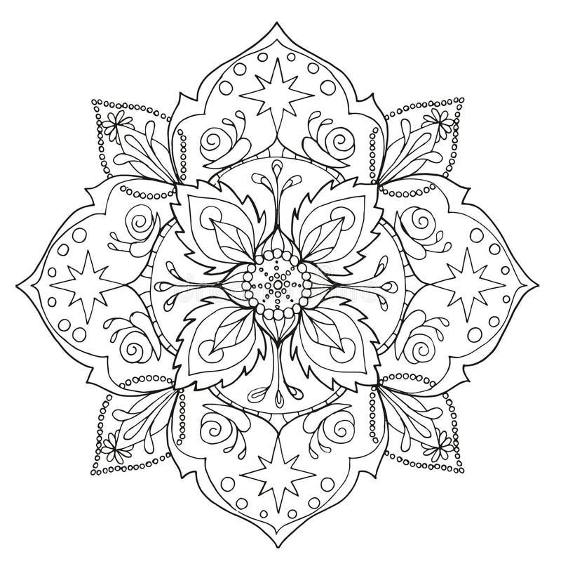 Mandala No Estilo Do Mehendi Desenho Do Contorno Para A Faculdade