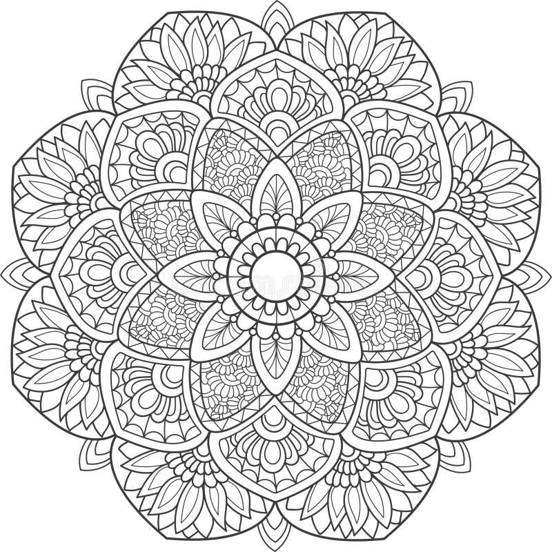 Mandala noir de dentelle de griffonnage sur un fond blanc photo stock
