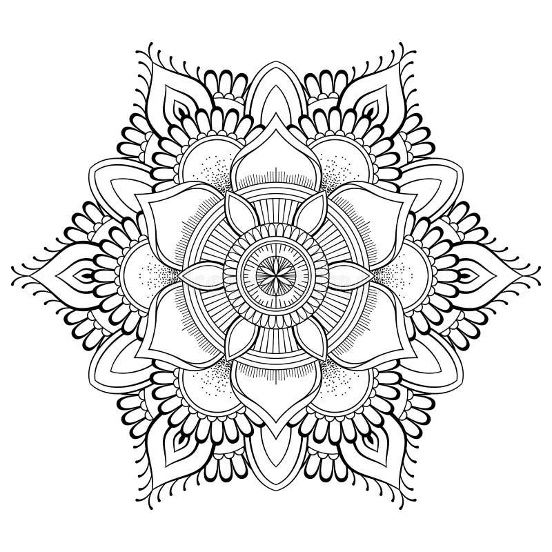 Mandala noir de fleur Modèle oriental, illustration de vecteur L'Islam, l'arabe, motifs indiens de tabouret Page de livre de colo illustration stock