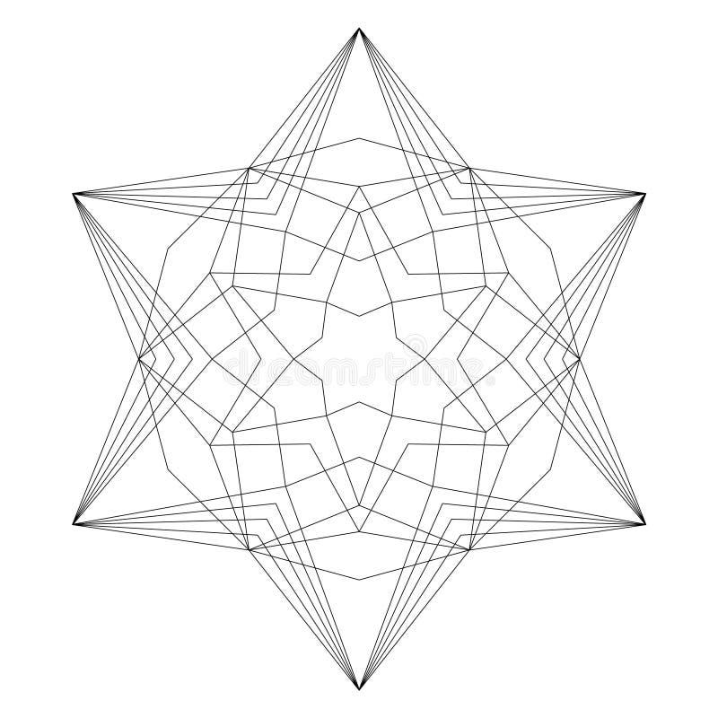 Mandala noir et blanc de Noël de vecteur - forme d'étoile de hexagram - page adulte de livre de coloriage illustration stock