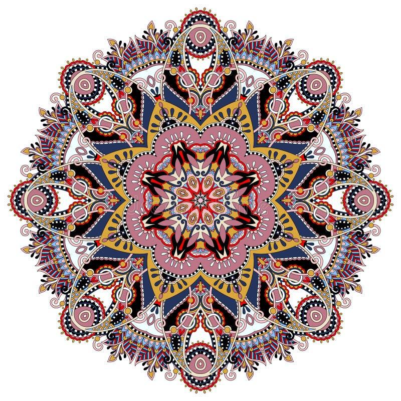 Mandala, okręgu dekoracyjny duchowy indyjski symbol ilustracja wektor