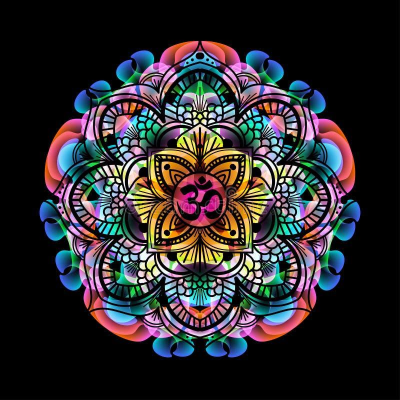 Mandala OM da cor ilustração do vetor