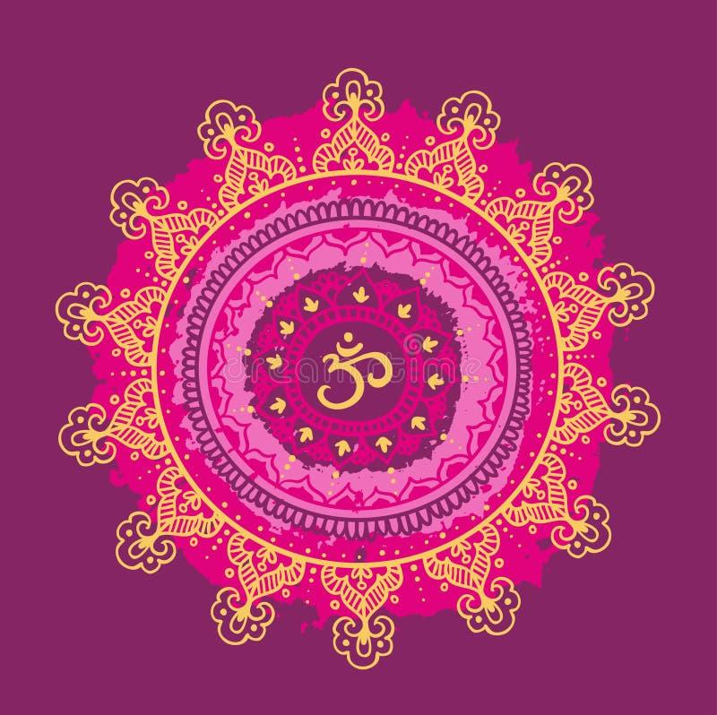Mandala OM Modèle rond d'ornement illustration de vecteur