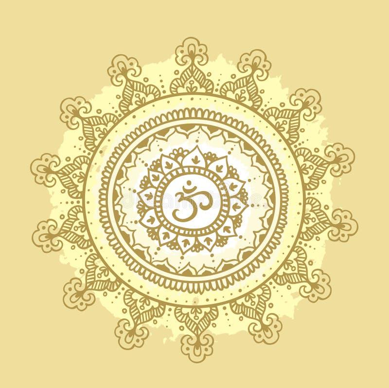 Mandala OM Modèle rond d'ornement illustration stock