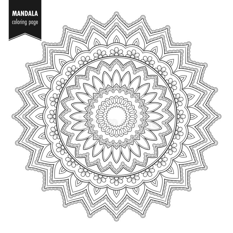 Mandala om ornamentbw vector illustratie