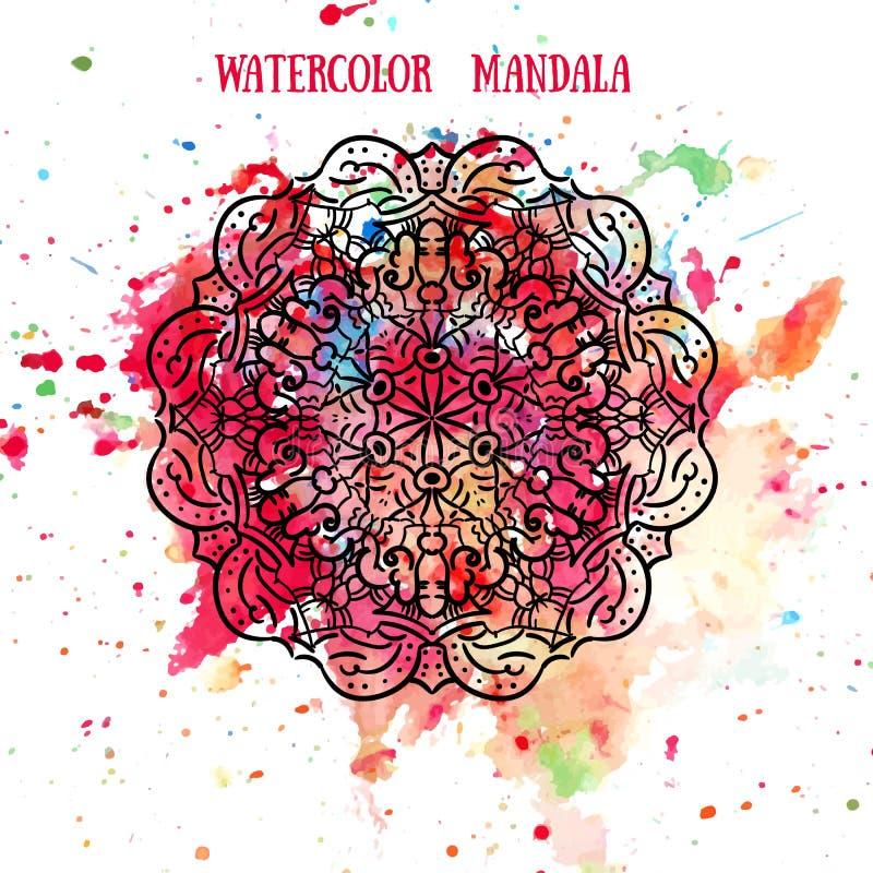 Mandala op waterverf achtergrondpatroon De cirkelornamenten van kantmanala Traditionele Indisch, Islamitisch, Aziatisch, Arabisch royalty-vrije illustratie