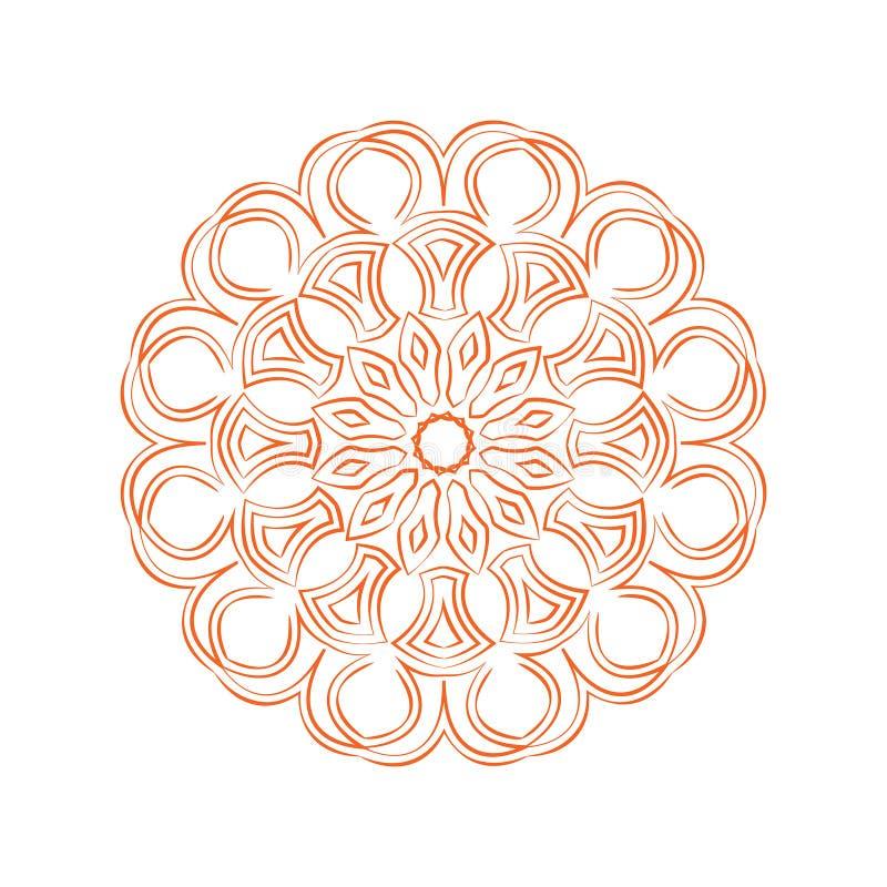 Mandala orange de fleur Ornement décoratif de cru image stock